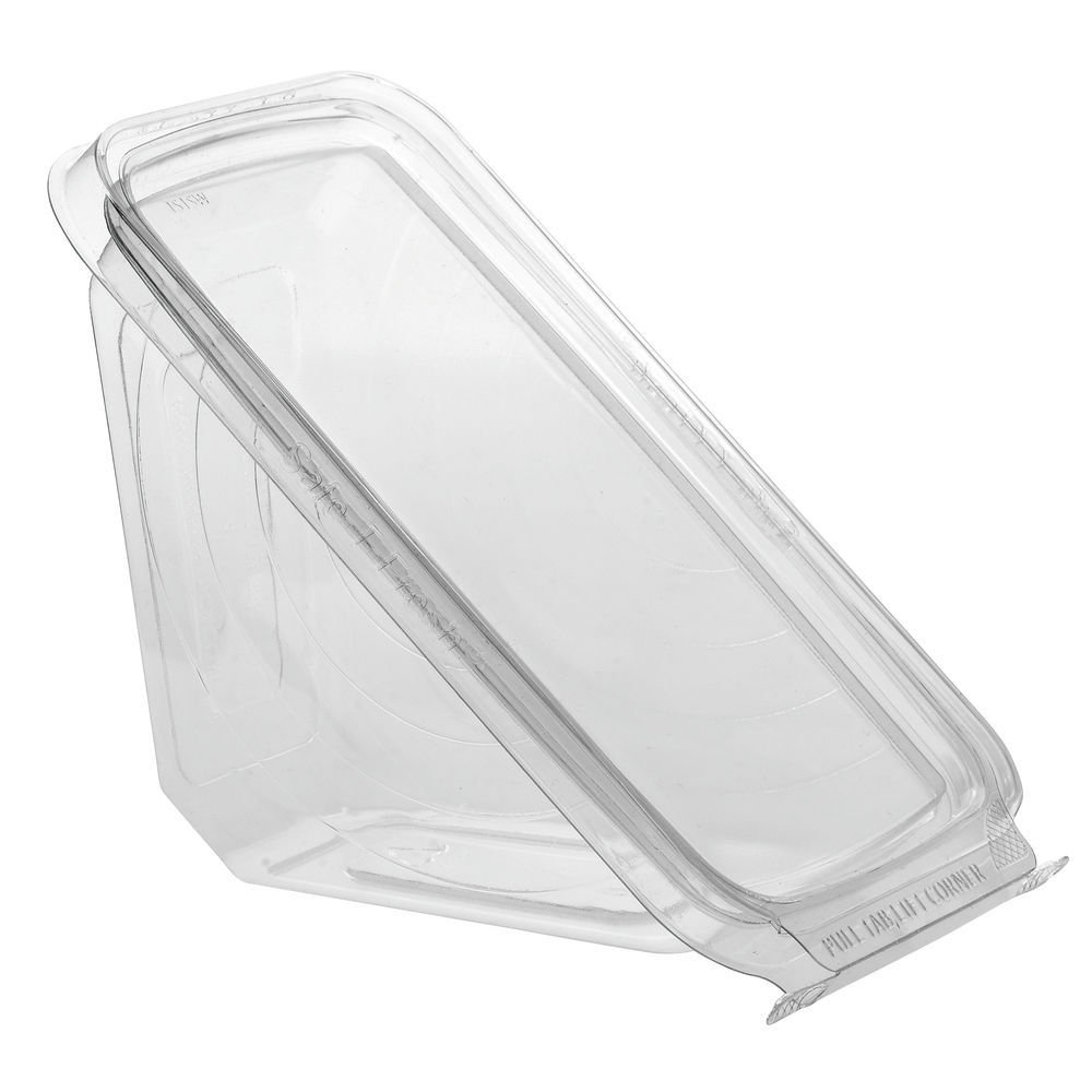 Safe T Fresh Tamper Evident Plastic Sandwich Wedge Hinged Container/Case of 288 by Inline Plastics