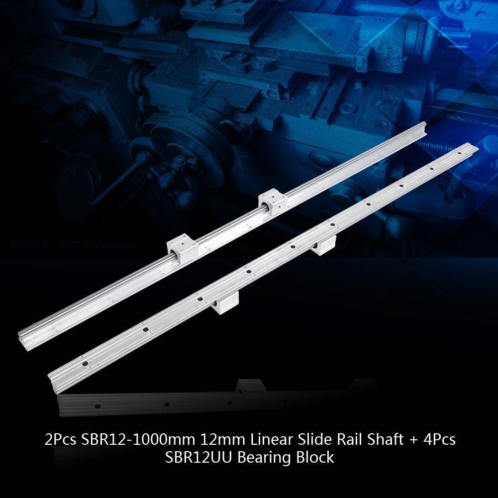 2 Pcs SBR12-1000mm 12mm Linear Slide Rail Shaft 4Pcs SBR12UU Bearing Block Made of Carbon Steel and Aluminum Alloy Linear Slide Rail Shaft