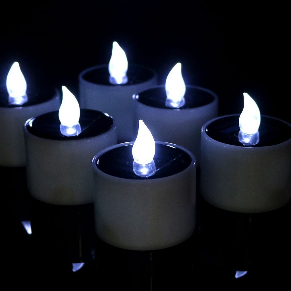 Fityle Flameless Solar Tealight Candles for Camping, Home, Window, Yard Decor in White by Fityle (Image #8)