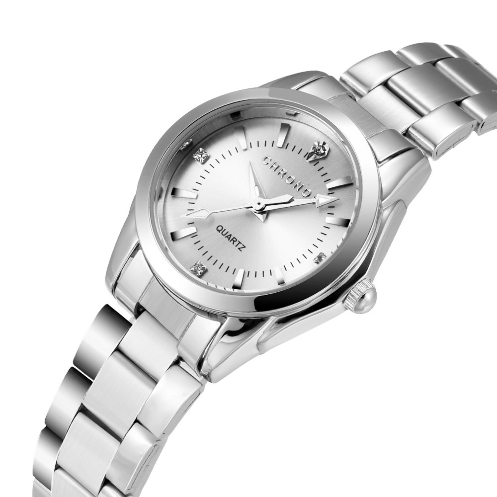 Chronos Women Girls Silver Stainless Steel Quartz Waterproof Watch Round Analog Silver Dial by Chronos (Image #2)
