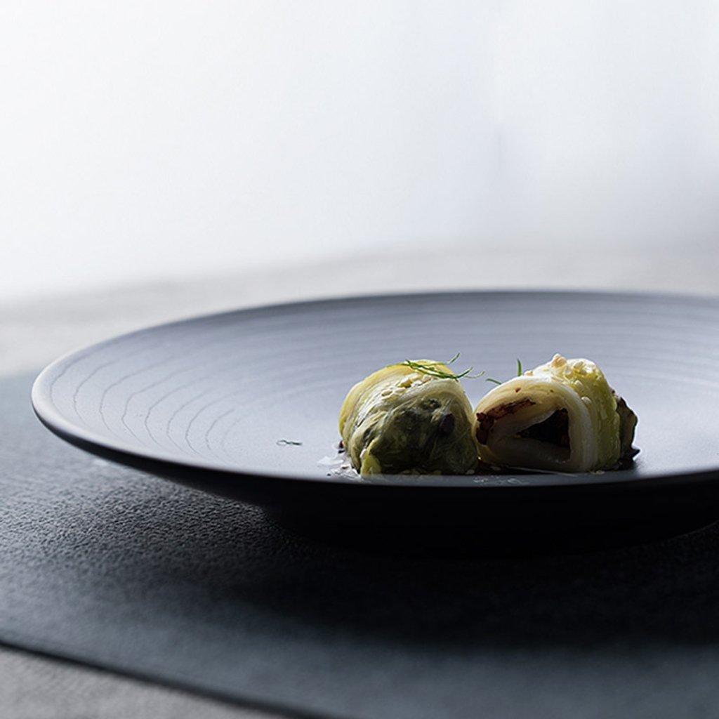 He Xiang Ya Shop Round plate cutlery black ceramic flat dish deep dish fruit salad plate steak plate home 21.3 cm (8 inches) by He Xiang Ya Shop (Image #3)