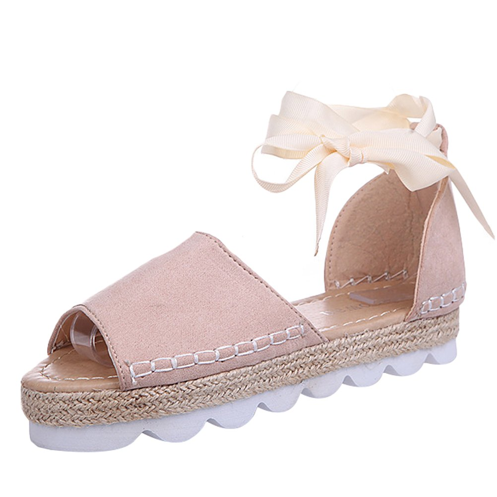 MatchLife Damen Sandalen Flache Badesandale Sommer Lace up Platform Schuhe Casual Flip-Flops  37 EU Beige