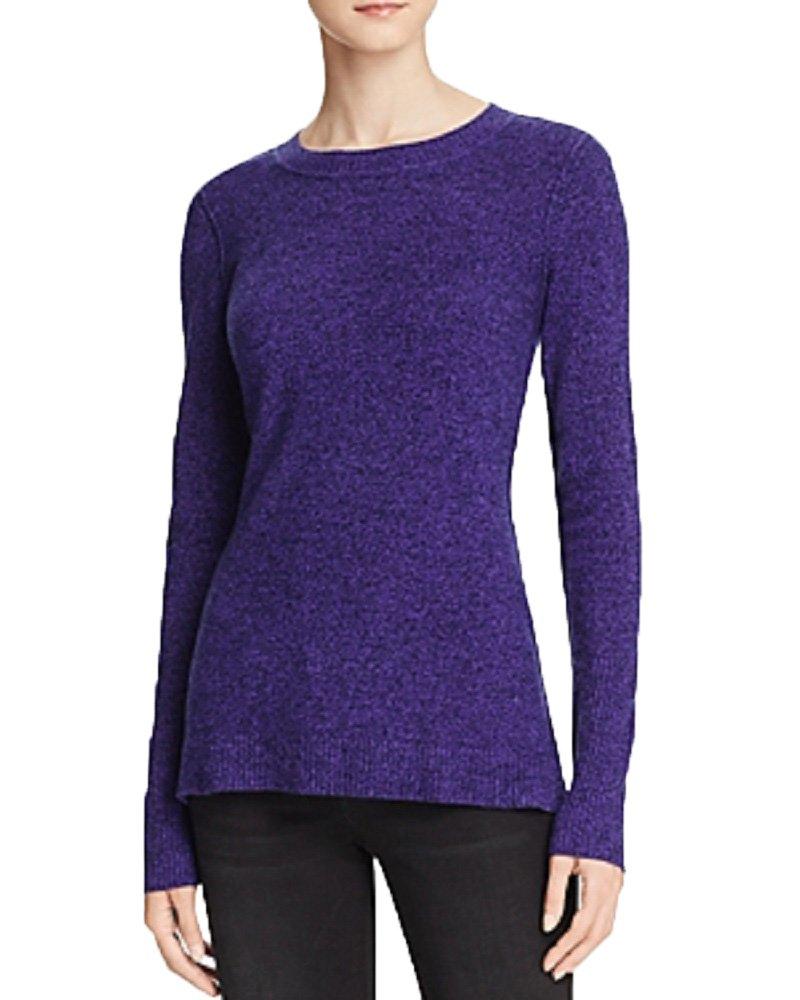AQUA Cashmere Fitted Crewneck Cashmere Sweater (Peacoat Violet, S)