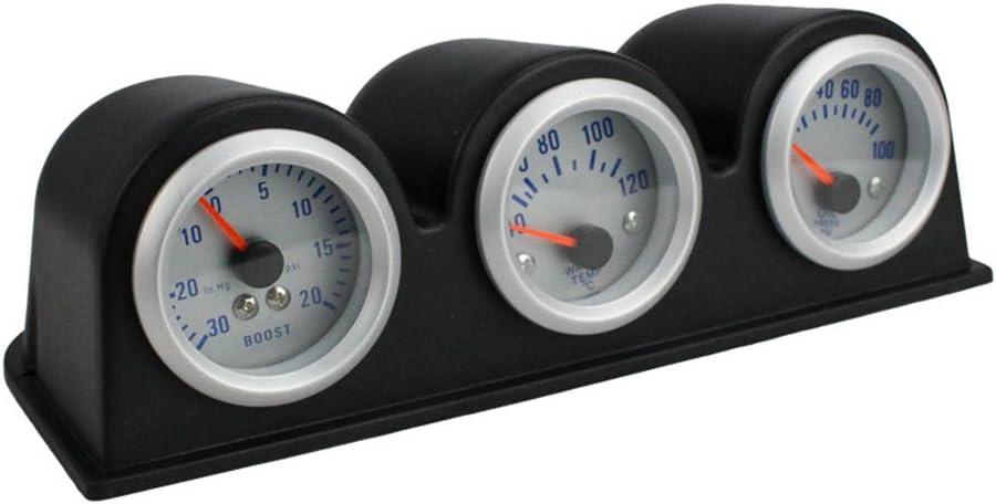 Viviance ZHVICKY Medidor de presi/ón de Aceite de 52 mm 3 en 1 Triple Turbo Boost Medidor de presi/ón de Aceite