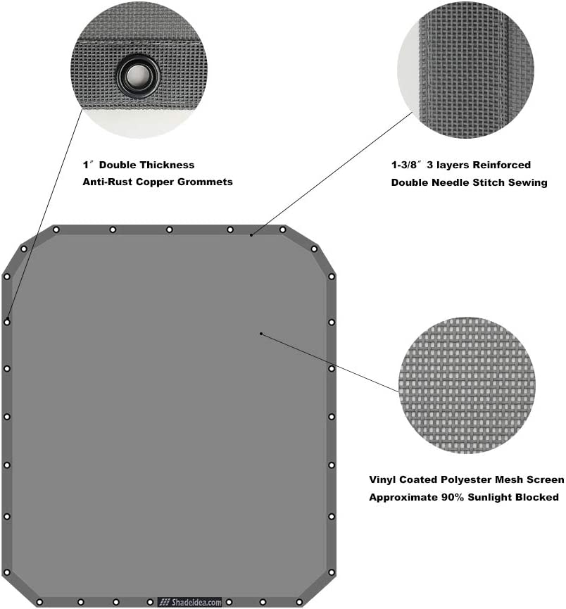 Shadeidea Honda Pioneer 1000-5 Sun Shade Black Mesh Sunshade Top Cover UV Blocker-10 years warranty