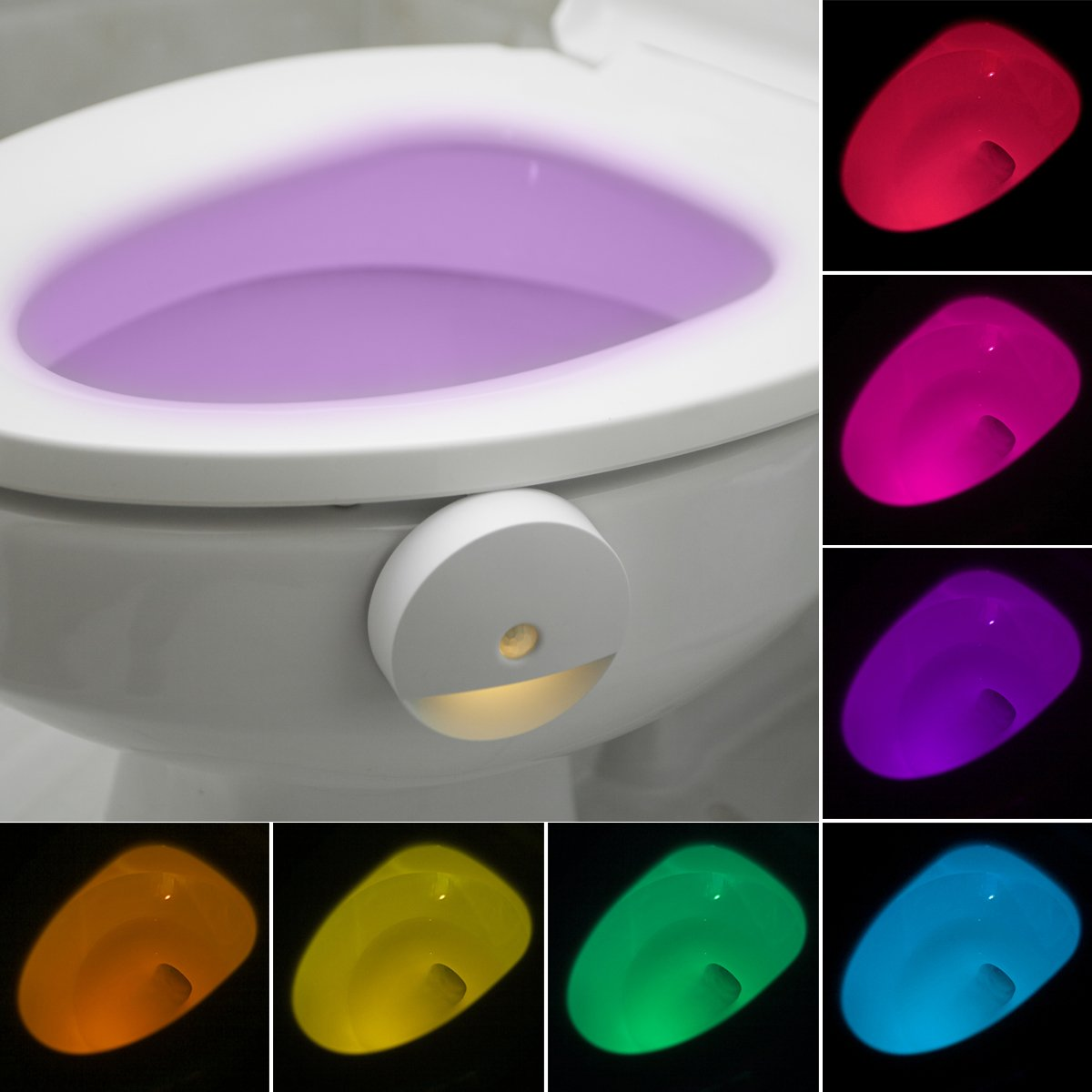Colorful Motion Sensors Toilet Lights, Lusaf Home Toilet Bathroom Human Body Auto Motion Activated Sensor Seat Nights Lamp 8 Color Changes