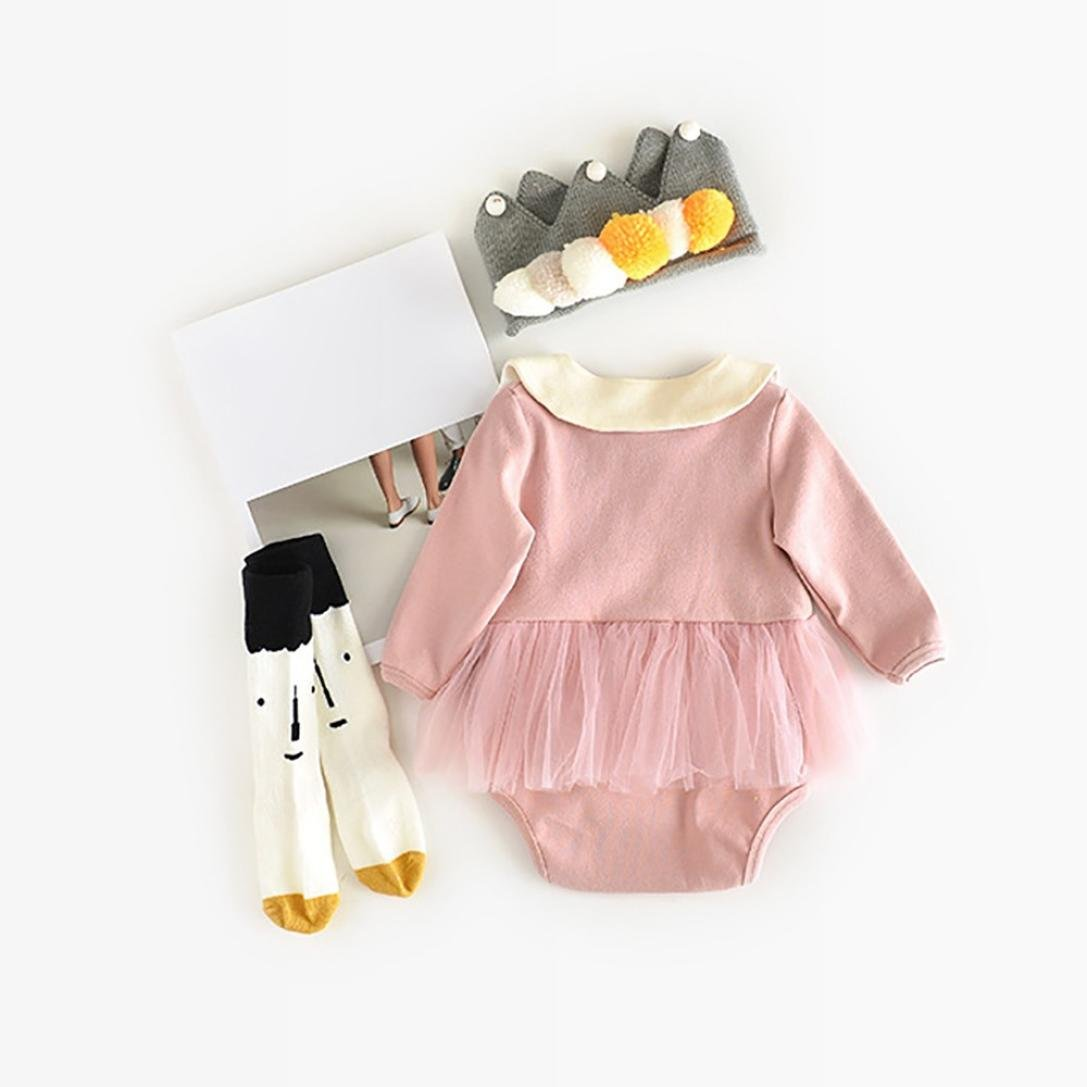 9c953cffd7f6 Amazon.com  Lisin Newborn Baby Girls Swan Solid Clothes Romper Jumpsuit+Bib  Clothes Outfits Set  Clothing