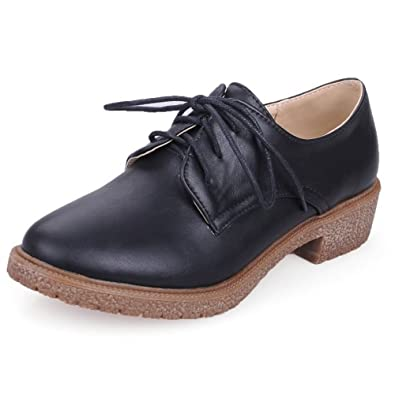 Black Oxford Mujer Bajo Tacon 38 Zapatos Shoes Casual Zanpa qSAT8x