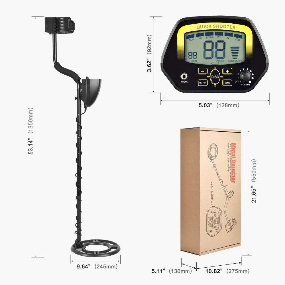 HUKOER Detector de Metales MD3030 Detector Profesional liviano de Alta sensibilidad de búsqueda en Oro, Joyas, Tesoros subterráneos en Aguas Poco Profundas ...