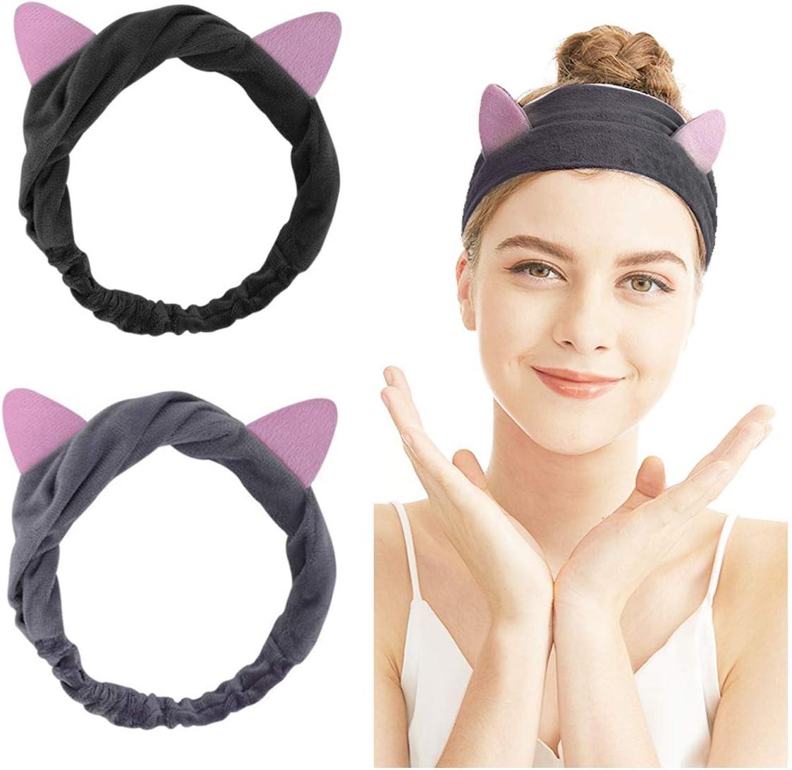 Cute Fluffy Cat Ear Make up Elasticated Hair Band Headband Facial Shower Tool