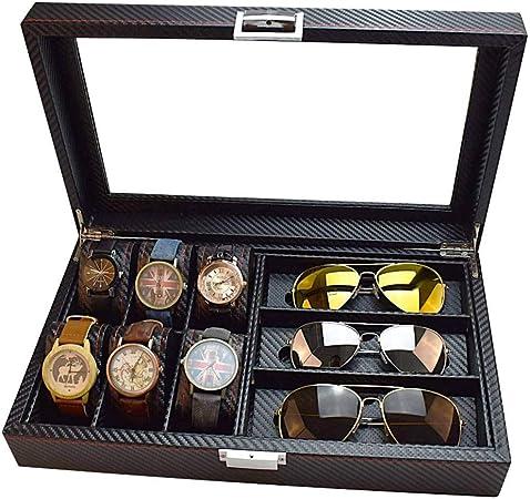 GOVD Caja Relojes Mujer con Tapa de Cristal Estuche de Relojes para Relojes, joyería, Negro: Amazon.es: Hogar