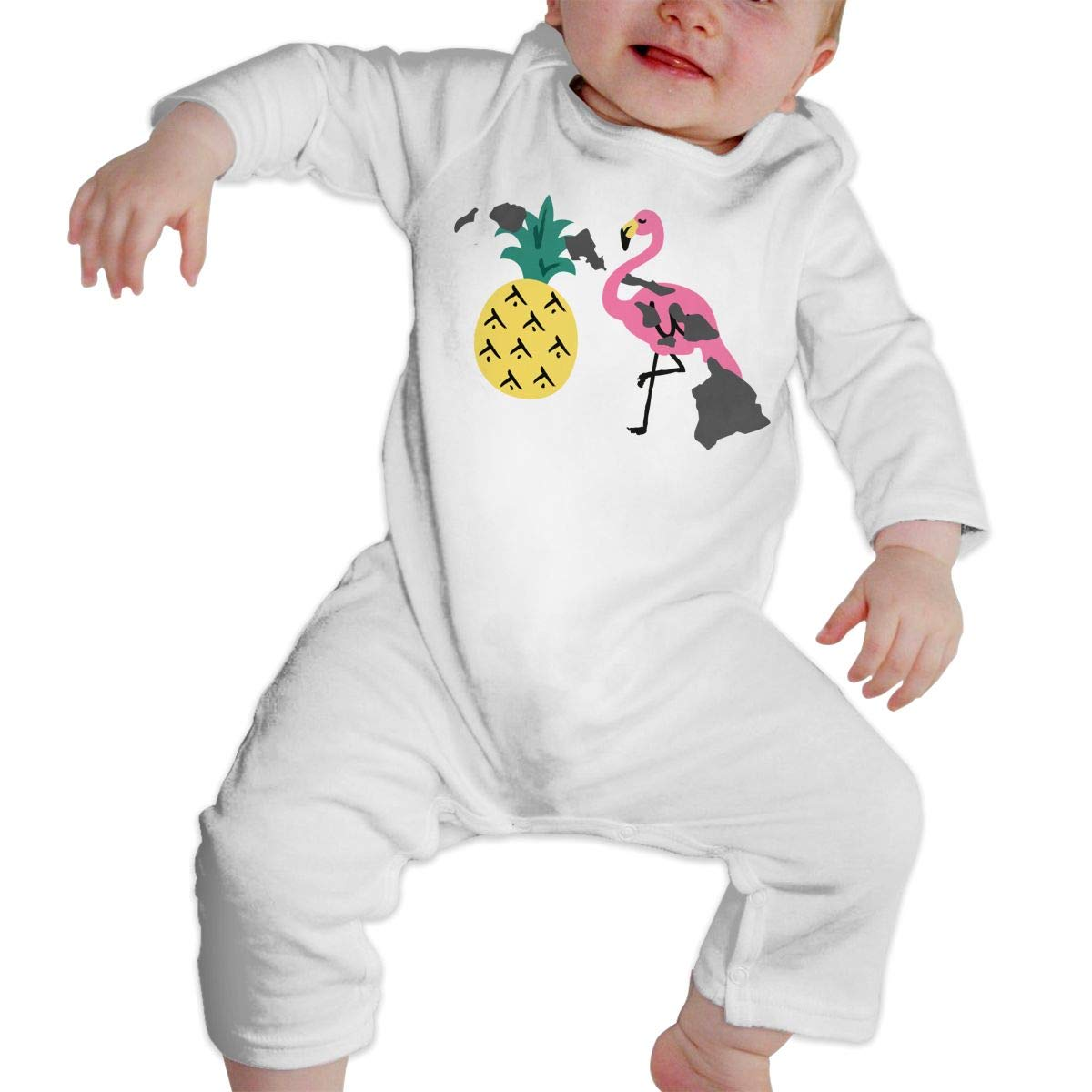 Baby Girl Coverall Hawaii Islands Pineapple Flamingo-1 Infant Long Sleeve Romper Jumpsuit