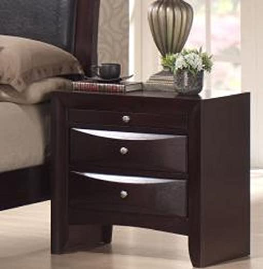 Skyline 2 Drawer Nightstand with a Rich Merlot Finish, Made with Hardwood and Wood Veneers, Brushed Silver Handles
