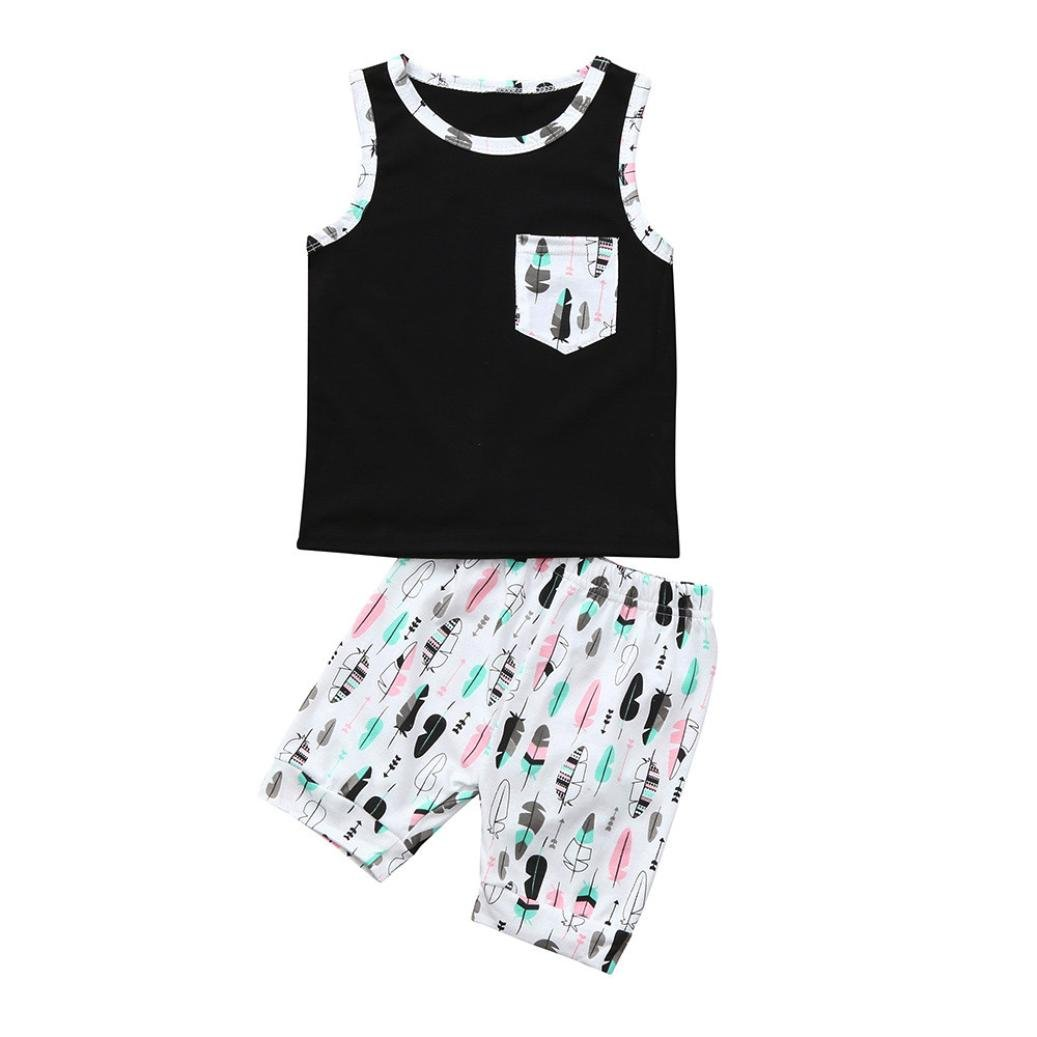 Staron Baby Boy Clothes Feather Pocket Vest Tops+Shorts Summer Casual Outfits Set