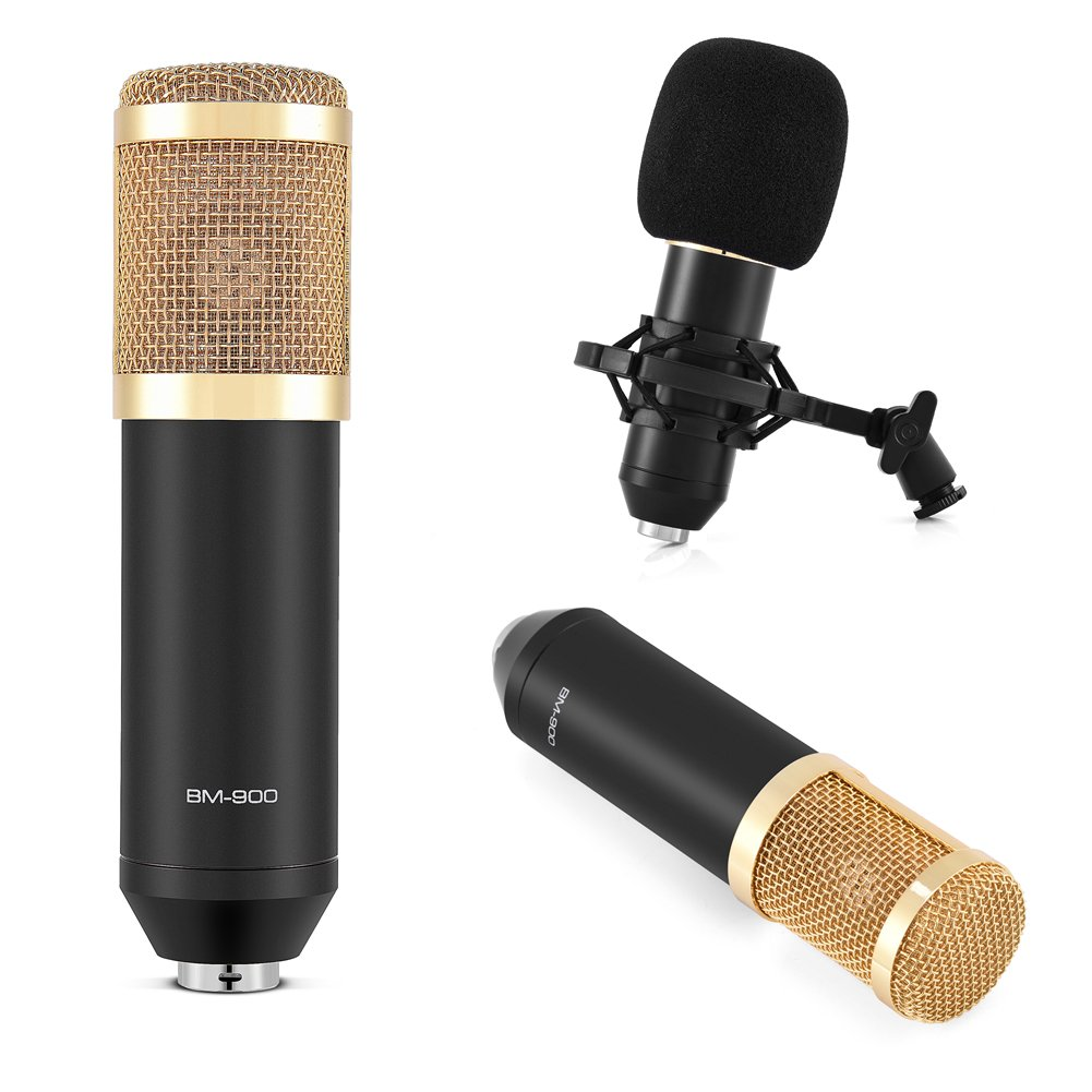 BM-900 Cardioid Condenser Microphone, Professional Studio Broadcasting Microphone Set wtih Shock Mount, Foam Cap, Power Cable