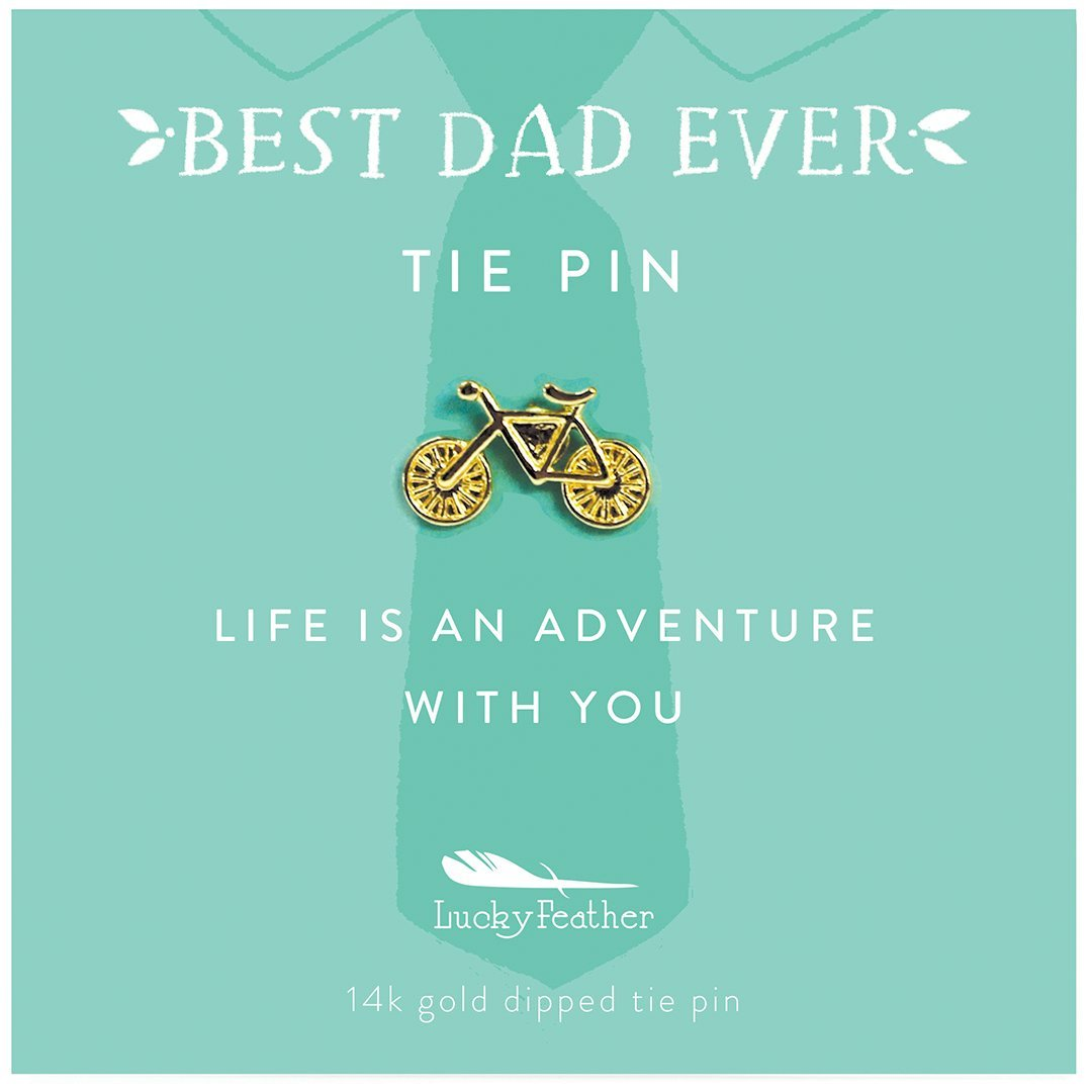 Lucky Feather Best Dad Ever Father's Day gift tie pin with message card: Life is an Adventure with you!