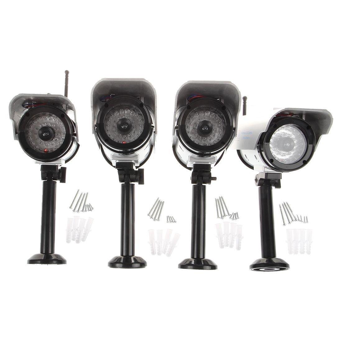 Dcolor Lot de 4 Camera Factice Fausse sans fil avec Panneau Solaire Dummy Camera Camera CCTV Securite Surveillance Exterieur avec rouge LED Argent