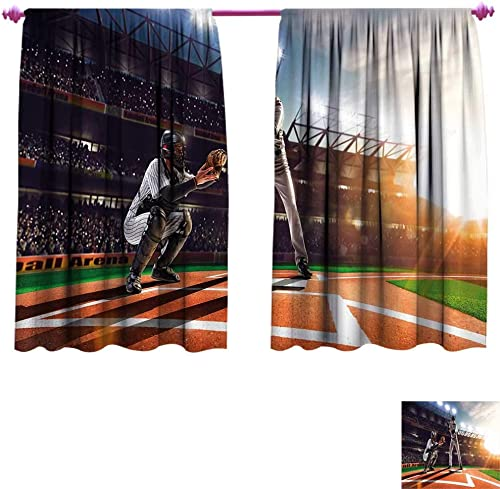 Teen Room Blackout Window Curtain Professional Baseball Players in The Stadium Playing The Game Pich Sports Print Customized Curtains W96 x L72 Multicolor