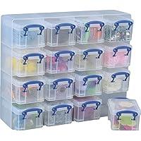 Verkligen användbar organisering, 16 x 0,14 liter förvaringslådor i en genomskinlig plastorganisatör och genomskinliga…