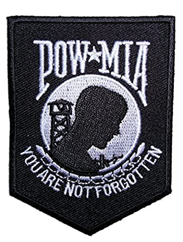 Leather Supreme POW-MIA You Are Not Forgotten Shield Embroidered Biker Patch-White-Medium - Military Vet Patch