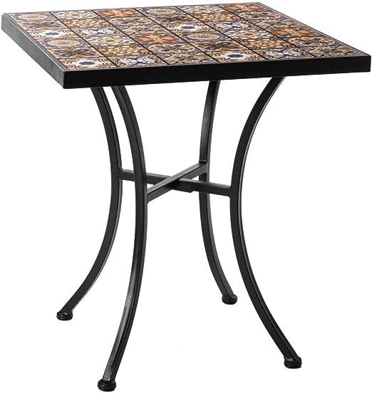 Mesa de jardín de Hierro y Mosaico marrón para terraza Garden - LOLAhome: Amazon.es: Jardín