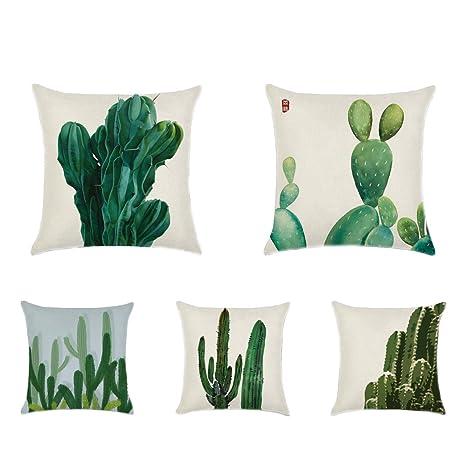 Decoración del hogar algodón lino Tropical plantas Cactus ...
