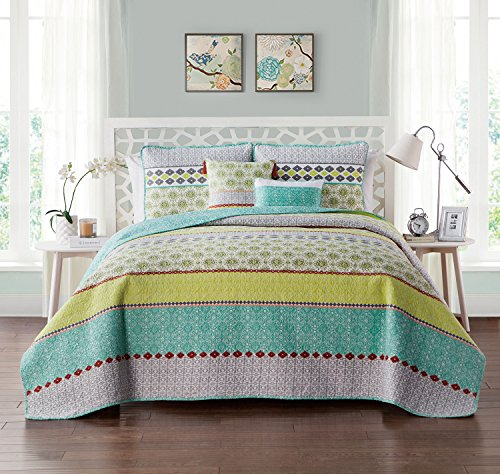 (VCNY Home Dharma Reversible Stripes 5 Piece Bedding Comforter Set, Full/Queen, Multi)