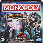 Hasbro Monopoly: Jurassic Park Edition Board Game for Kids Ages 8 and Up, Includes T. Rex Monopoly Token, Elec