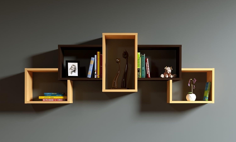 BOLD Étagère murale - étagère à livres pour décoration de salon en bois dans un design moderne (Hêtre - Wengé)