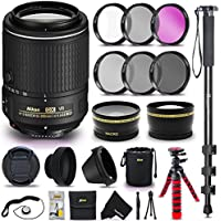 Nikon Auto Focus-S DX NIKKOR 55-200MM f/4-5.6G ED VR II Lens for NIKON DSLR Cameras + 52mm Wide Angle / Telephoto Lens Filter Accessories Bundle Kit (UV FLD CPL ND) + Monopod + Flexible Tripod + More