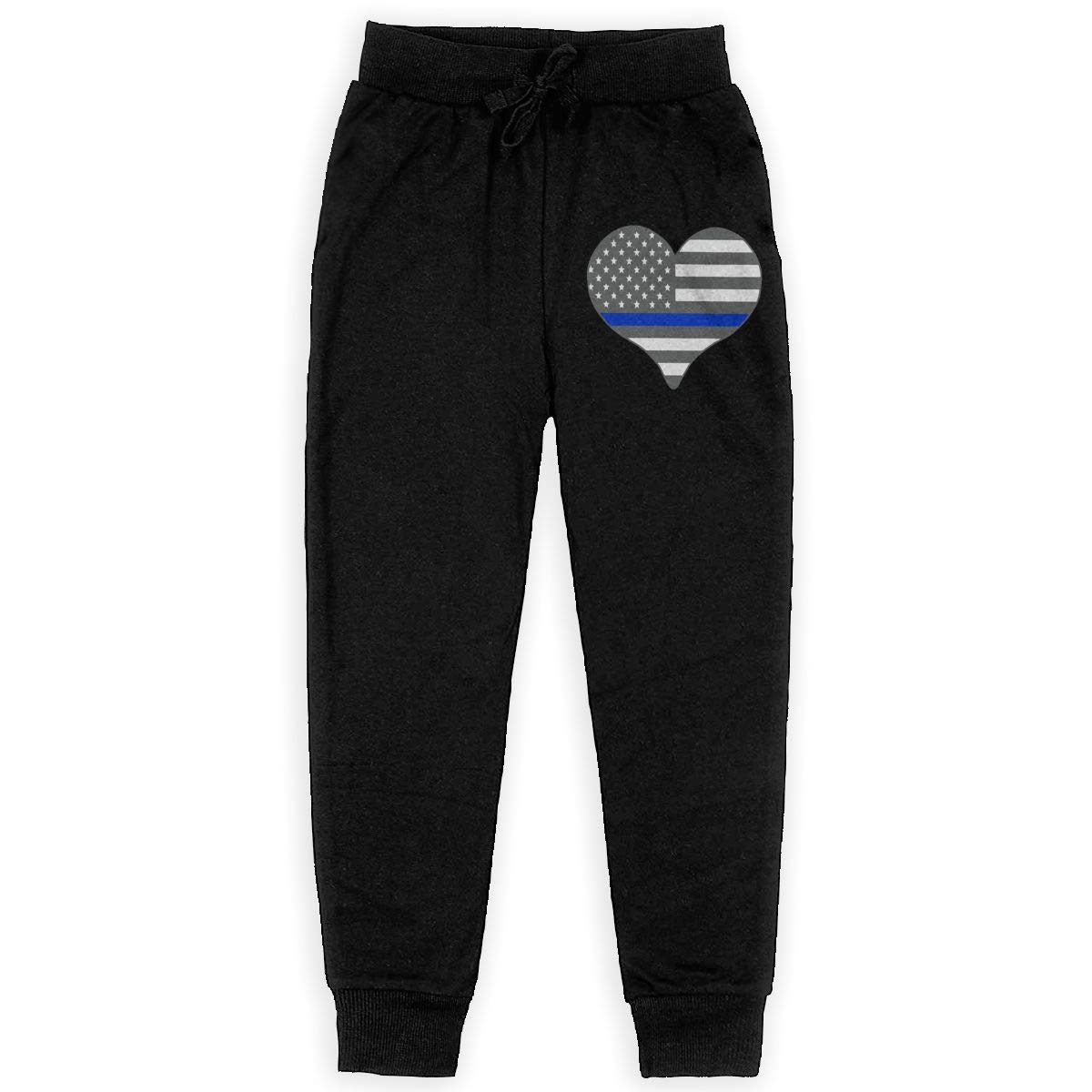 Capri Jogger for Youth Casual I Love Police Thin Blue Line Cotton Sweatpants for Youth