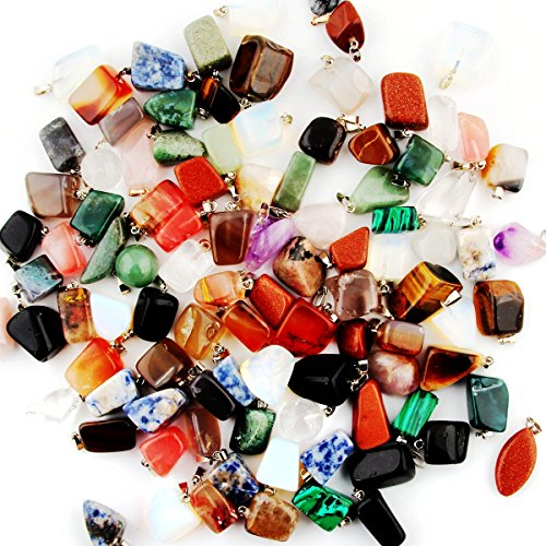 Shape Pendant Bead (Mutil Random Irregular Shape Healing Beads Crystal Stone Quartz Charms Pendants for Necklace Jewelry Making(30pcs))