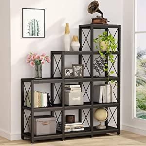 Tribesigns 12 Shelves Bookshelf, Industrial Ladder Corner Bookshelf 9 Cubes Stepped Etagere Bookcase, Rustic 5-Tier Display Shelf Storage Organizer for Home Office (Black)