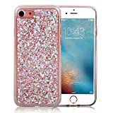 For iPhone 5 Glitter Case, iPhone 5S Cover Gold Hexagonal Star Paillette Pattern Sparkle Bling Bling Ultra Thin Soft TPU Cover, Shiny Silicone Bumper Protective Back Cases Cover iPhone SE-Pink