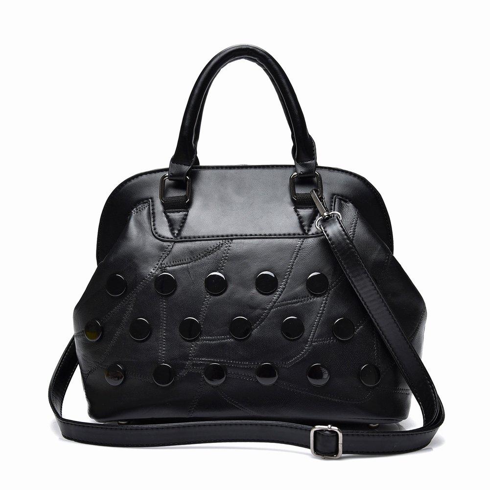 Weiche Leder Spleiß Schaffell Handtasche Handtasche Schulter Messenger Bag Große Kapazität Handtaschen , schwarz