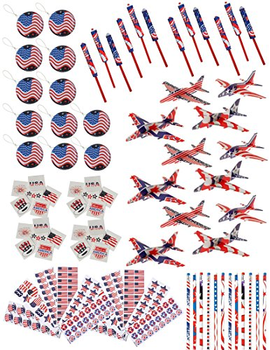 84 Piece Bulk Patriotic 4th of July Themed Party Favor Assortment and Activity Toy Pack for (4th Of July Party Favors)