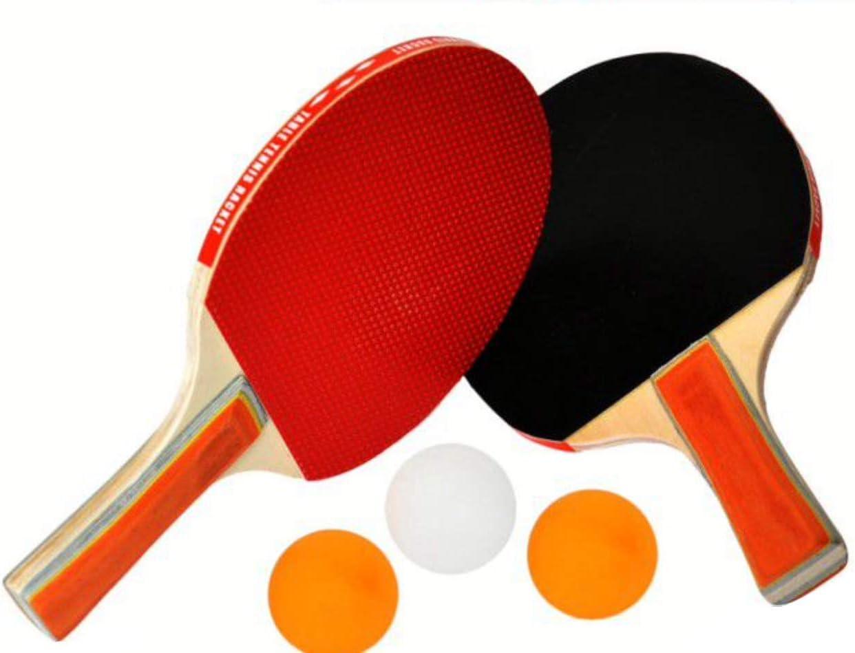 EM HOME Kit Palas Ping Pong, 2 Raquetas Ping Pong, con Juego De 3 Bolas Y Raquetas, Raquetas De Tenis De Mesa con Juego De Pelotas, con Funda, Talla Única, Pin Pon.: