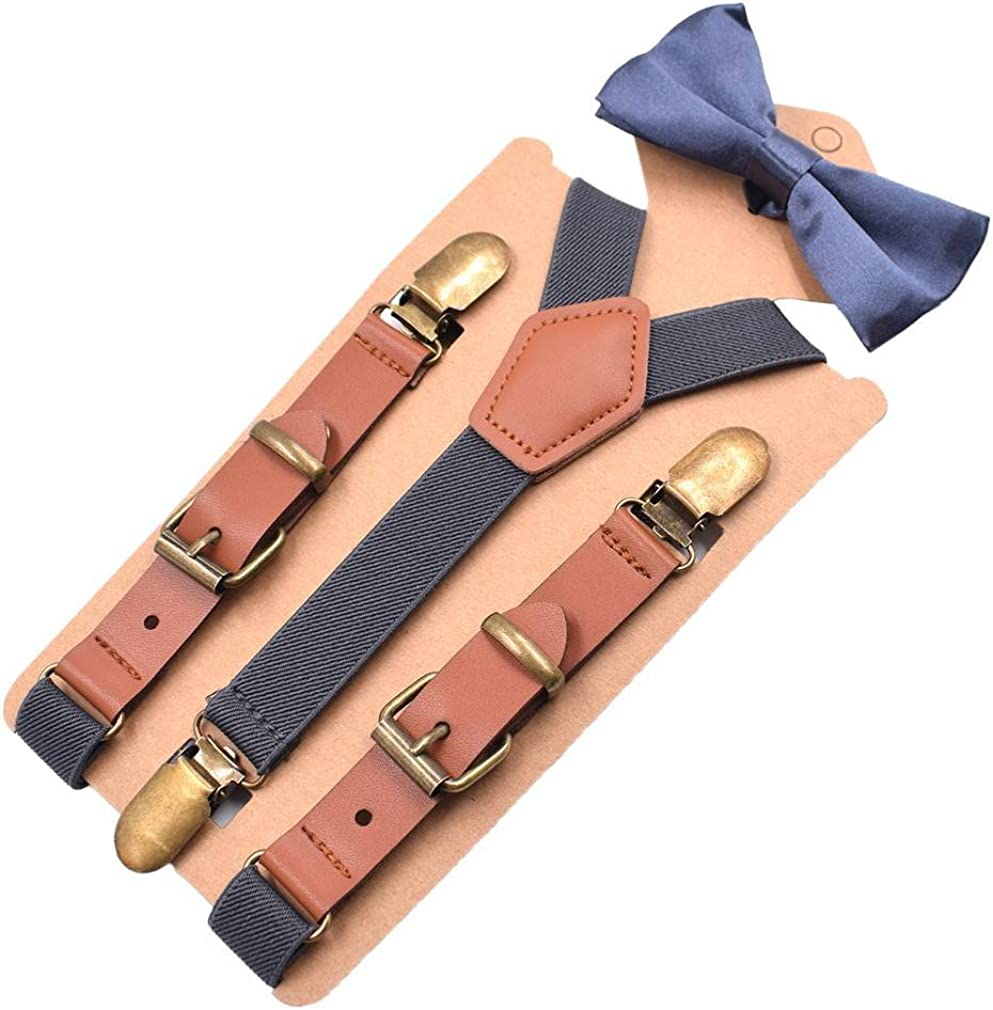 Bowtie Bigood Children Boys Y-shape PU Leather Elastic Strap Buckle Suspenders