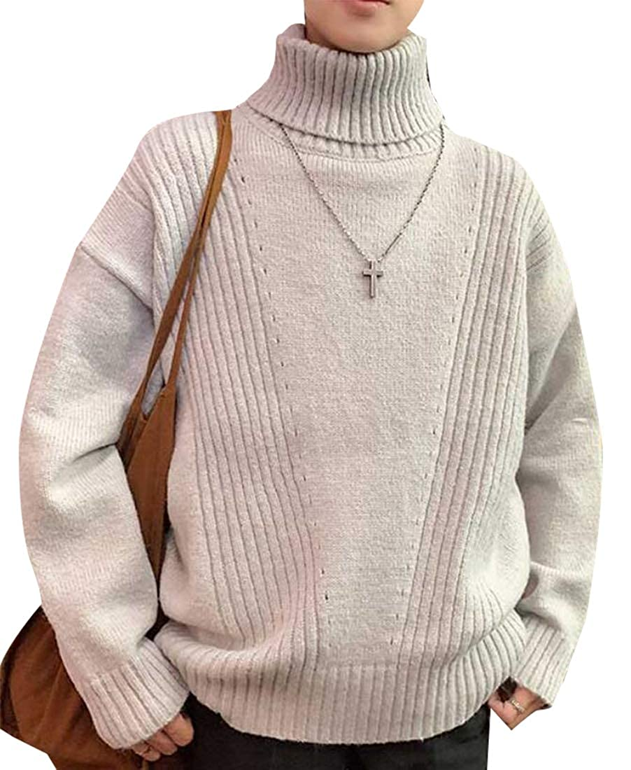 ouxiuli Mens Basic Casual Thermal Knitted Turtleneck Slim Fit Pullover Sweaters