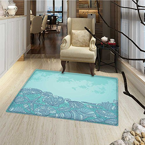 Nautical Door Mat indoors Marine Beauty Shell with Seahorse Starfish Oysters Ocean Sea Tropical Image Door Mat indoors Bathroom Mats Non Slip 20