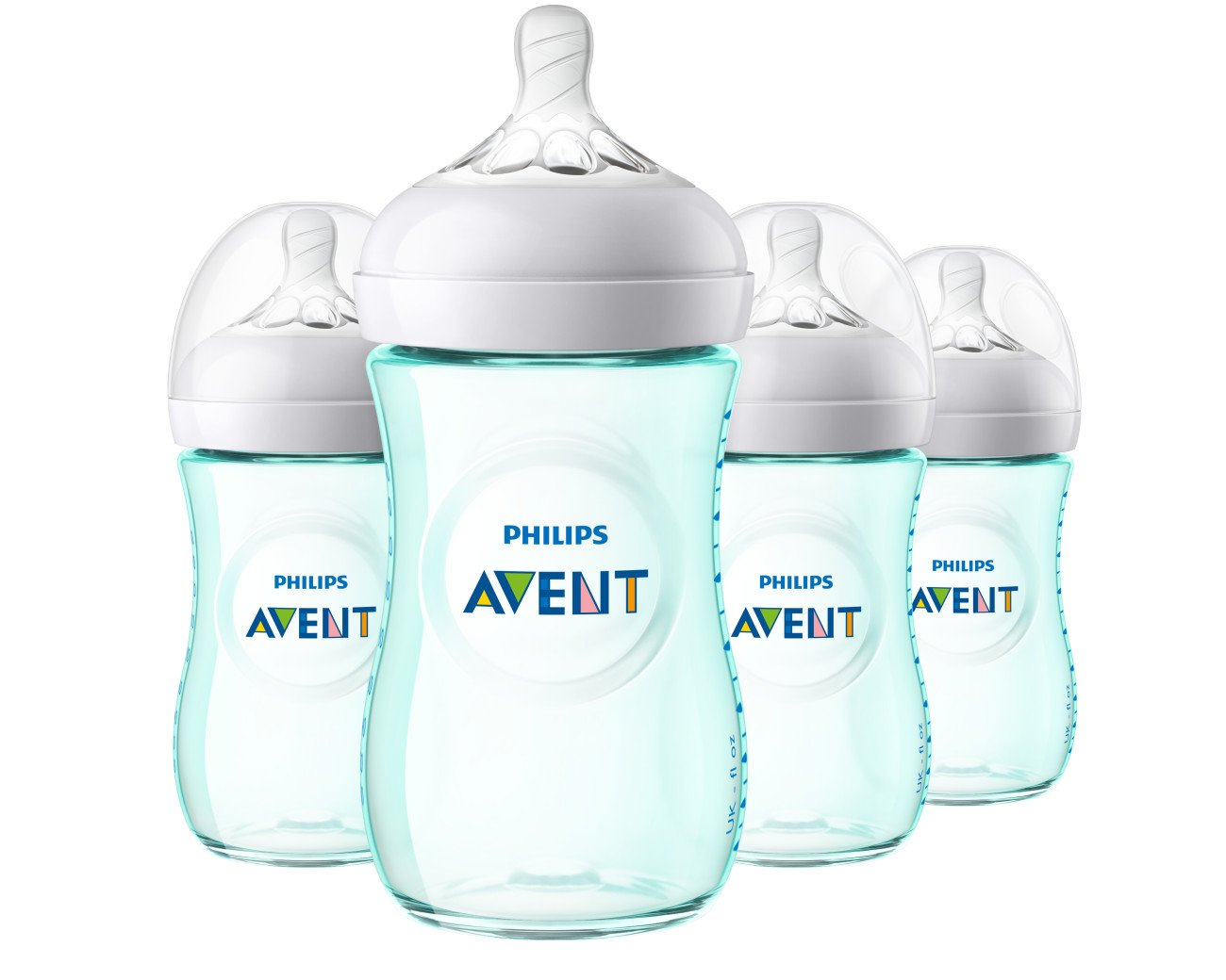 Philips Avent Natural Baby Bottle, Teal, 9oz, 4pk, SCF013/44 075020068385
