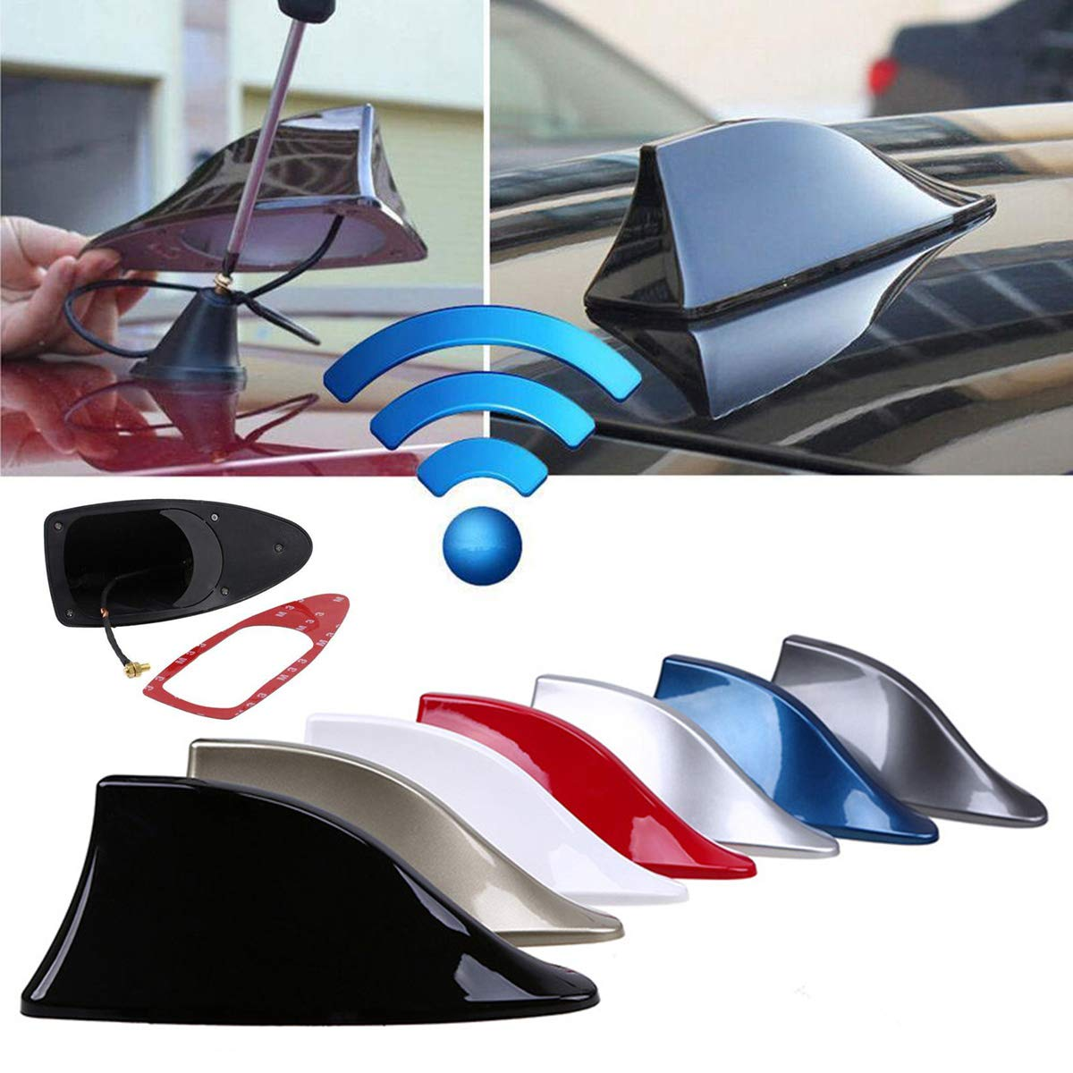 Blue Universal Vehicles FM Signal Fin Aerials Cover Car Top Roof Radio Shark Fin Antenna Cover