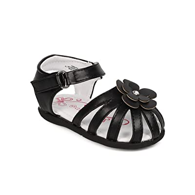 Aadi FK91 Leatherette Flower Ankle Strap D'Orsay Fisherman Flat Sandal (Infant Girl/Toddler) - Black