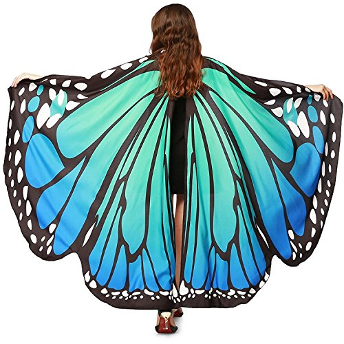 Wind Costume (Butteryfly Wings Cape Soft Fabric Fairy Wings Dress Up Costume Accessory (Blue Green, Child))