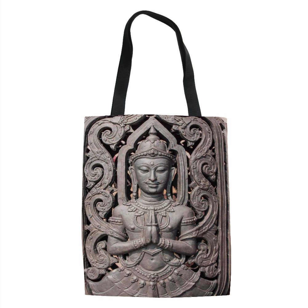 IPrint Asian Decor,Antique Sculpture in Traditional Thai Art with Swirling Floral Patterns Carving Japanese Decor,Bronze Printed Women Shoulder Linen Tote Shopping Bag