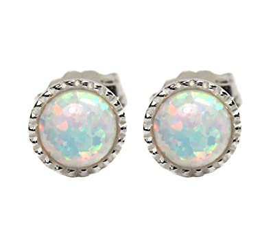 Black Moon® 4mm White Opal with Red Green Fire Sterling Silver Stud Earrings - Best Seller