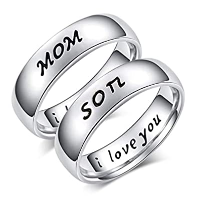 Beydodo Anillos Acero Inoxidable Liso Son Mom I Love You ...
