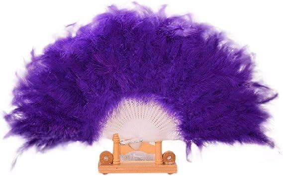 YWLINK Abanicos,28 Abanicos De Plumas Boda Showgirl Danza Elegante Pluma Grande Plegable Mano Fan Decor Decal Fiesta De Bodas Manualidades Memorial Nacional De Viento(Púrpura): Amazon.es: Hogar