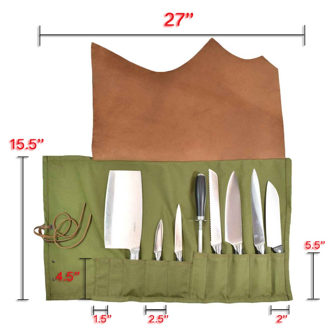 Hide & Drink Water Resistant Canvas All Purpose Knife Roll (10 Pockets) Handmade by Hide & Drink (Image #7)