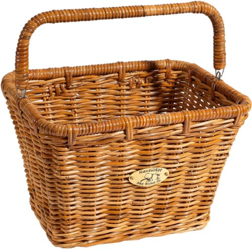 Nantucket Bicycle Basket Co. Cisco Dutch Rectangle Basket w/Hooks - Weather Wicker Collection